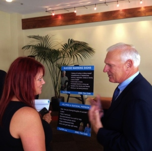 Diana Hereld speaks with County Supervisor Ron Roberts regarding Not On My Watch campaign